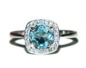Blue Topaz Ring, Halo Ring, Anniversary, Engagement, Sky Blue Topaz