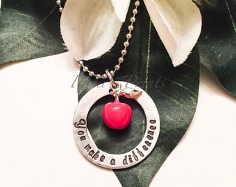 Hand stamped You Make A Difference teacher necklace, teacher gift, teacher apprecian, apple