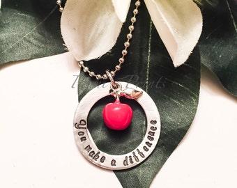 Hand stamped You Make A Difference teacher necklace, teacher gift, teacher apprecian, apple