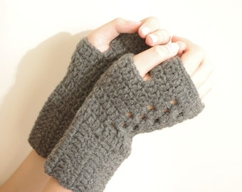 WINTER Gray Fingerless Gloves ,Knitting Pattern, Hand Arm Warmers,Winter Accessories, Fall Fashion,Mittens,Holiday accessories