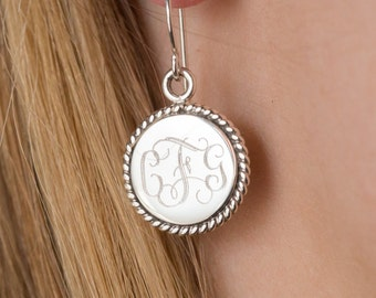 Nautical Rope Monogram Earrings in Sterling Silver Dangle Style for Christmas Present, Women, Bridesmaids