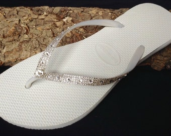 Wedding Flip Flops Havaianas Slim Glass Slippers Full Moon w/ Swarovski Crystal Rhinestone Jewel Bridal White Bling Reception Thong Shoes