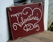 happy valentine's day, wood sign