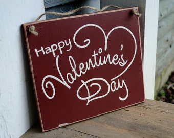 happy valentine's day, wood sign