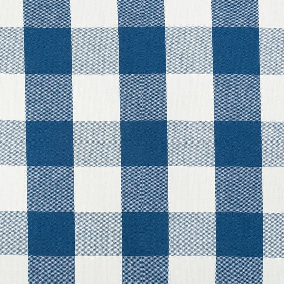 Navy Blue Plaid Upholstery Fabric by the Yard - Large Scale Plaid ...