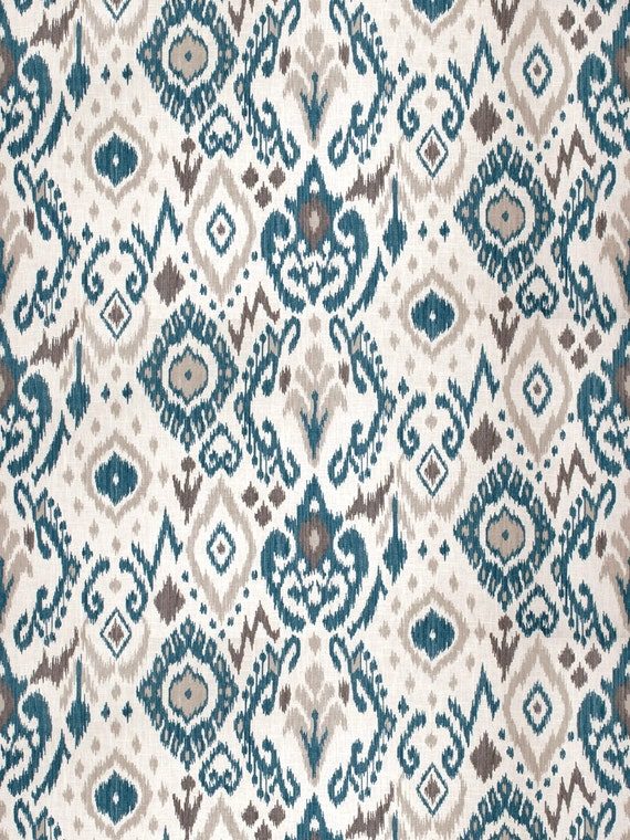 Peacock Blue Linen Ikat Upholstery Fabric Blue by