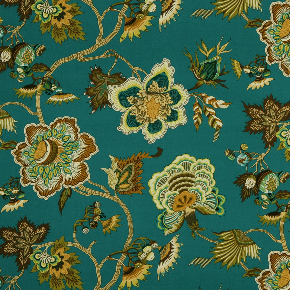 ON SALE Teal Gold Floral Upholstery Fabric For Furniture From - Designer upholstery fabric teal