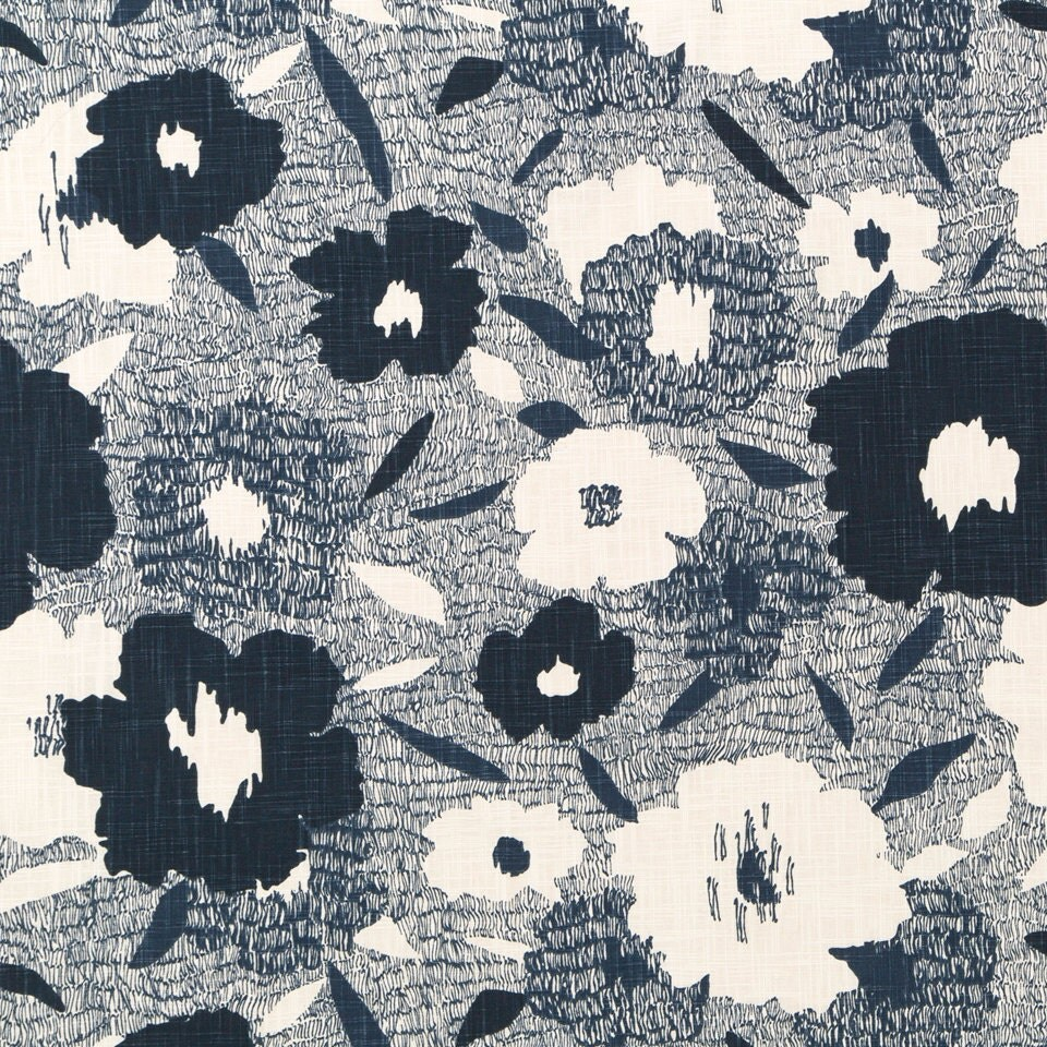 abstract navy blue and white floral upholstery fabric. Black Bedroom Furniture Sets. Home Design Ideas