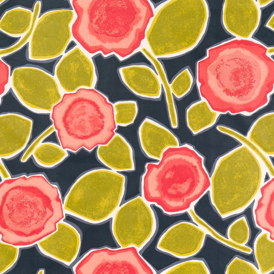 Red Floral Fabric Abstract Yellow Grey Upholstery Fabric