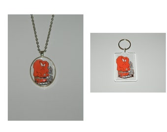 Looney Tunes Gossamer Bugs Bunny Glass Pendant Necklace or Keychain