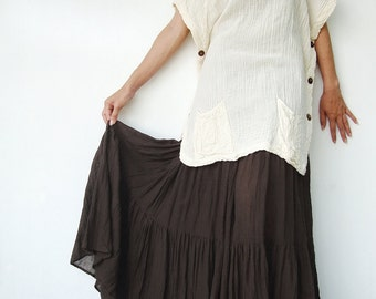 NO.5 Brown Cotton, Hippie Gypsy Boho Tiered Long Peasant Skirt