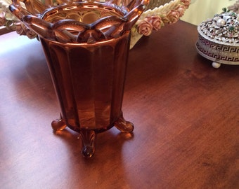 Vintage amber brown glass vase