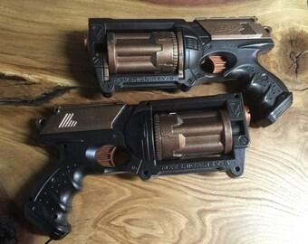 Pair of Steam punk gun handpainted Nerf steampunk victorian cosplay