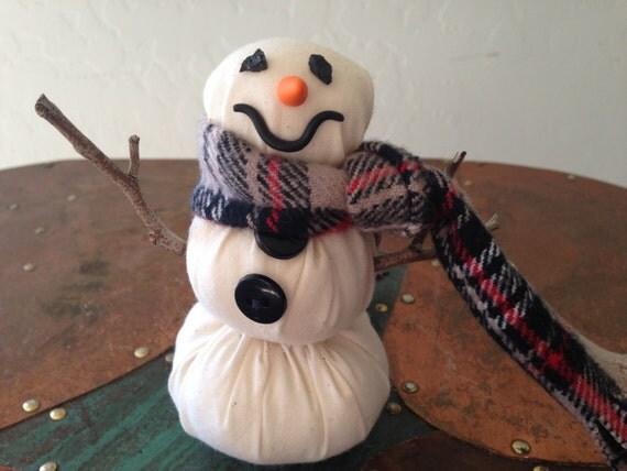 Snowman Decor Handmade of Cotton with a Flannel Handsewn Scarf, Winter Decor, Snowman, Handmade Snowman