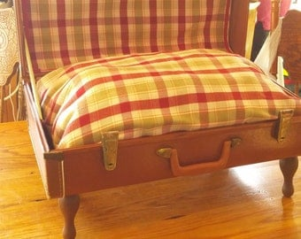 vintage suitcase pet bed