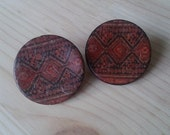 Ethnic Wooden Earrings,Stud Handmade Button coconut Bohemian Gifts Under 20