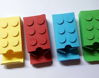 Set of 12 Medium Building Block Boxes in four different colors -or CHOOSE YOUR COLORS