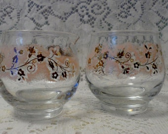 1950's Libby's  Glass Cream and Sugar Set Pink and Gold Embossed Floral Pattern Retro Kitchenware Valentines gift