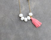 Long beaded necklace with tassel white and pink / Tassel necklace vanilla strawberry sorbet for women