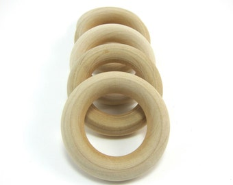 """10 Small (1-3/4"""") Unfinished Wooden Rings - Natural Wood Toss Ring"""