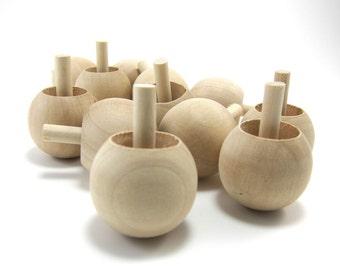 Unfinished Wooden Spinning Tops - Natural Wood Flip Flop Tops