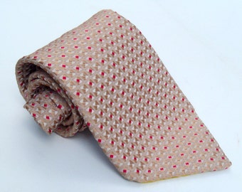 Vintage 1970s Wide Peach and Fuchsia Woven Polyester Tie Sears Mens Store