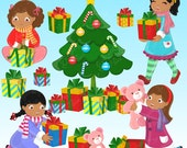 African-american Opening Gifts Clipart Set