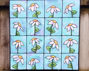 Daisies in a grid whimsical acrylic on canvas painting