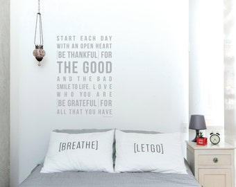 Be Thankful Wall Decal by [LOVE TO BE]. Home Rules Wall Sticker Positive Quote + Messages. Inspirational Wall Art & Design