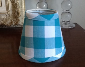 Tourquoise And White Gingham Chandelier Lampshade Large Check
