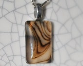 Stunning Oblong Striped Brown ,Cream , Agate  Pendent Necklace