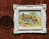 "Original Miniature Artwork by Sandra Frantz 1:12 scale dollhouse art ""Ann Hathaway's Cottage Garden"""