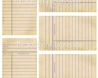Library Cards Vintage Collage Sheet Digital Download