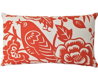 Mama Bird Lumbar Pillow Cover In Tangerine Orange