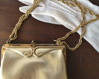 Vintage Gold Lame Evening Bag With Adjustable Chain, Cross Body Bag, Formal Gold Bag
