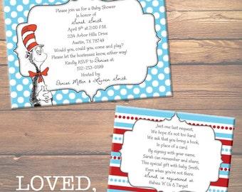 CUSTOM DIGITAL FILES - Dr. Seuss Baby Shower Invitation & Insert