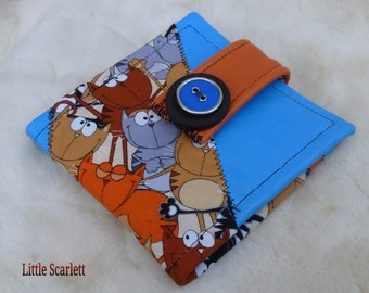 door monnaie\portefeuille blue and orange leather and fabric cats