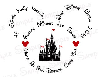 Disney World Castle Custom DIY Printable Iron On Transfer or Door Magnet Disney Family Vacation