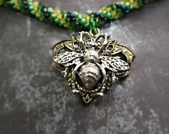 Green Beaded Bee Necklace