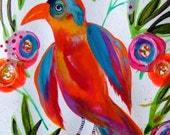 Parrot Painting Bird Flowers Art Watercolor Animal Original Painting Bird Decor Orange Blue Gold Room Decor Cute Bird Nature Wall Art Bird