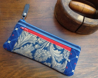 Royal Blue Tapestry Zipper Wallet Purse