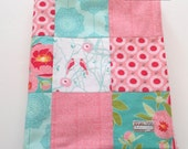 Minky Patchwork Baby Girl Blanket Quilt 2 Sizes Riley Blake Cottage Garden Birds Flowers Aqua Pink--Made to Order