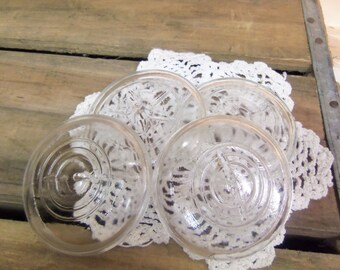 4 Clear Glass Jar Lids for Ball Ideal or Wire Bail Jars Standard or Regular Mouth Size