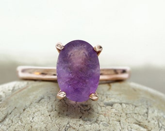 SUMMER SALE - Amethyst ring,rose gold ring,faceted prong ring,gemstone ring,February ring,delicate ring