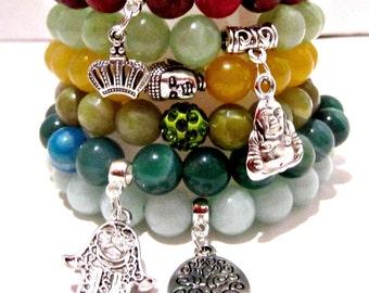 Spring Stacking Bracelets, Beaded Bracelets, Bracelet Jewelry, Charm Bracelet, Beaded Stretch Bracelet, Stackable Bracelet, Bead Bracelet