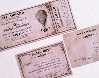 Vintage Ticket Wedding Invitation - Ticket wedding invitation retro - Retro Wedding Invitation {Portland design}