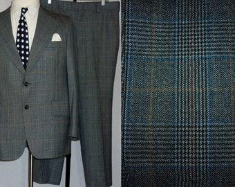 Vintage 1970s Mens Suit / 38 - 40 / Glen Plaid / 1970s Suit / 1970s Suit  Glen Plaid Suit / Vintage 1970s Menswear / 1970s Plaid Suit