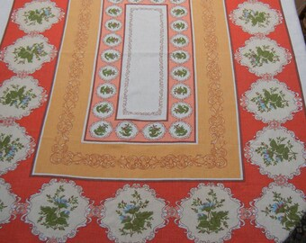 Funky 1970s tablecloth -- cotton, vintage
