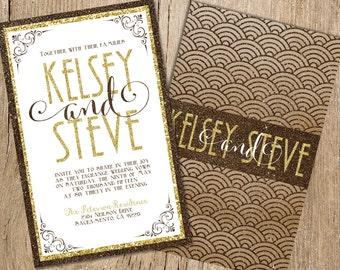 Gold Wedding Invitations, Brown Glitter Wedding Invitations, Glitter Wedding Invitations, Champagne and Gold Glitter Wedding Invitations