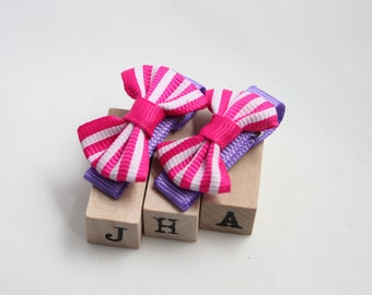 Baby girl hair clips - stripy ribbon bow